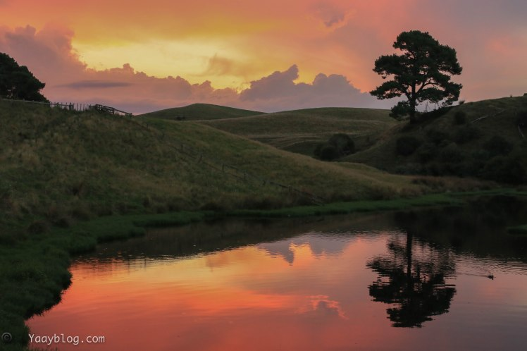 sunset at Hobbiton